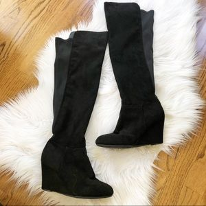 Chinese Laundry Black Over the Knee Wedge Boot